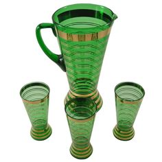 Stunning Vintage Bohemian Green Glass Gold Band Pitcher & Glasses Set  | Available at The Hour Shop & TheHourShop.com | Curated cocktail glassware & barware for the modern home bar.