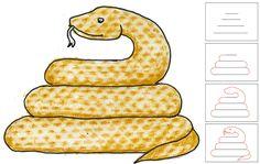 draw a snake step by step