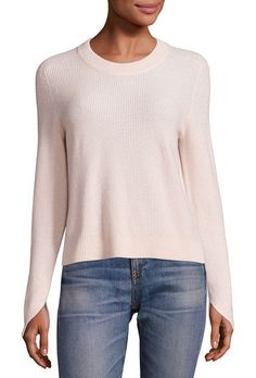 Valentina cashmere cropped sweater by Rag & Bone. EXCLUSIVELY AT SAKS FIFTH AVENUERib-knit sweater in slightly cropped silhouetteBanded jewelneckLong sleeves with slit...