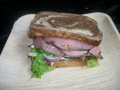 roast beef on marble rye
