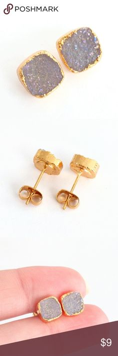 """Gold-plated genuine druzy stud earrings Natural beauty meets a a chic and modern design in these gold-plated stunners!  Genuine agate druzy crystals sparkle with aurora borealis iridescence...An absolute must-see in person!  Nickel and lead free.  PRICE IS FIRM and extremely reasonable, but click """"add to bundle"""" to save 10% on your purchase of 2+ items today! Jewelry Earrings"""
