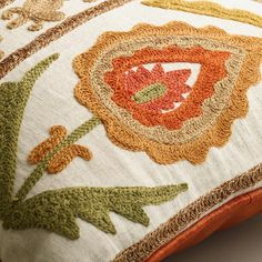 Rust and Green Embroidered Desert Lumbar Pillow | World Market