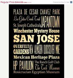San Jose California Typography Art by LegacyHouseArt