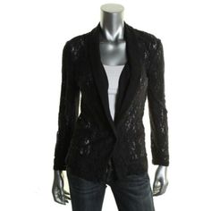 JUICY-COUTURE-NEW-Black-Lace-Long-Sleeves-Contrast-Trim-Blazer-Jacket-M-BHFO