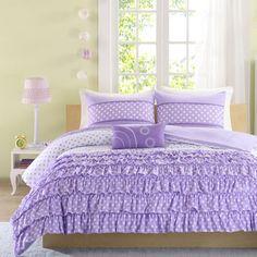 Romantic Puple Lavender Ruffle Bedding Twin Full/Queen XL Girl Polka Dot Comforter Set & Pillow