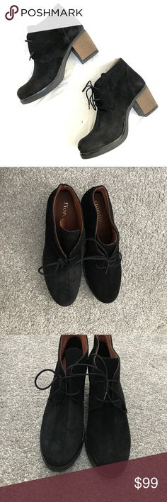 """Black Leather Suede Lace Up Boots Darling pair of brand new booties! I purchased them from a boutique in NY, but never wore them!😭 2.5"""" heel height, and super comfy! I suggest bundling to save 20% on your order! Fiordi Baci Shoes Ankle Boots & Booties"""