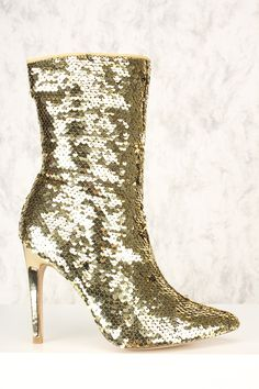 """Sexy Gold Sequins Pointy Close Toe Mid-Calf Boots $69.99 $19.99 NOW $8.00* * Price With Coupon """"#shoes #boots #womensfashion #genuine #vintage #chanel #streetstyle #stylish #outfit #fashionista #heels #designers #instafashion #ootd #lookbook #brands #summer #eveningwear #sandals #lifestyle"""""""