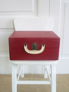 Vintage Red Case Retro Industrial Suitcase Box by vintagejane on Etsy