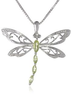 """Sterling Silver Peridot and Diamond Dragonfly Pendant Necklace (0.01 cttw, I-J Color, I2-I3 Clarity), 18"""" Amazon Curated Collection,http://www.amazon.com/dp/B0046XRLCW/ref=cm_sw_r_pi_dp_uv6Ysb04D7ACZRJX"""