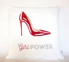 Girl Power Red Shoe Pillow, Pillowcase, Sofa Pillow, Feminist Cushion, Feminist Decor, Pillow cover, Feminist gift