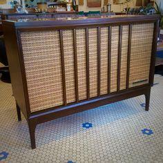 1950's Mid Century Danish Modern Motorola TV Record Stereo Cabinet ...