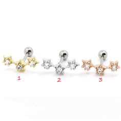 Find More Body Jewelry Information about 2PCS/Lot 6mm three star Tragus Eearring Helix Cartilage Lip Labret Piercing Ring,Fashion Jewelry For Women Christmas Gift,High Quality ring holder jewelry,China jewelry rack Suppliers, Cheap jewelry diamond from DreamFire Store on Aliexpress.com