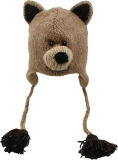 Delux Teddy Bear Face Wool Pilot Animal Cap/Hat with Ear Flaps and Poms
