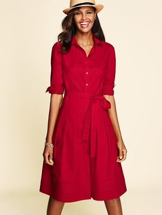 The Classic Shirtdress - Talbots - SB April 2016 Shirtdress Outfit, Casual Chic, Red Shirt Dress, Talbots, Stylish Outfits, Fashion Dresses, Dresses For Work, Style Inspiration, Womens Fashion