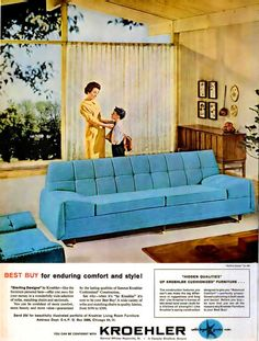 hollyhocksandtulips:    Furniture advertisement, 1960    I love houses like these with big window walls.