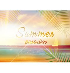 Summer time tropical paradise background with copyspace vector by Glush2502 on VectorStock®