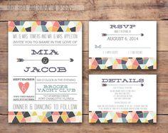 Geometrische Hochzeitseinladung mit von BabyBrideandBungalow