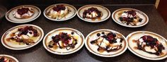 Crepes with whipped cream, and topped with fruit compote and chocolate and caramel sauces from the Whitney Cottage. Fruit Compote, Crepes, Whipped Cream, Sauces, Caramel, Pudding, Cottage, Chocolate, Desserts