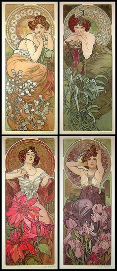 Some work from one of my favorite artists ever, Alphonse Mucha, an art nouveau painter and illustrator from the late and early . Motifs Art Nouveau, Art Nouveau Mucha, Design Art Nouveau, Alphonse Mucha Art, Art Design, Art And Illustration, Jugendstil Design, Art Vintage, Kunst Poster