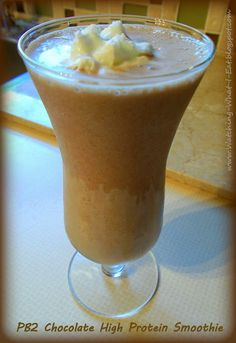 PB2 Chocolate High Protein Smoothie ~ PB2 has all the flavor of traditional peanut butter, but with 85% less fat calories!! AWESOME!