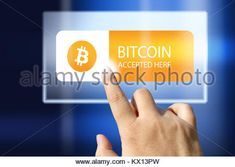 virtual money Bitcoin cryptocurrency - Bitcoins accepted here - Stock Photo