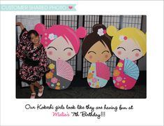 Giant Japanese Kokeshi Party Cutouts Instant by SWEETSDESIGNED