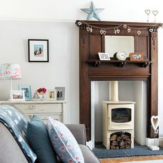 Modern living room with feature wood fireplace edwardian georgian victorian 1930s Living Room, Living Room Decor Cozy, New Living Room, Living Room Modern, Living Room Designs, Home Fireplace, Living Room With Fireplace, Fireplace Surrounds, Fireplace Design