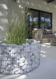 white boulder gabion contemporary planter
