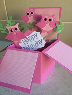 Pink owl pop out box card