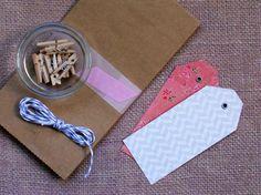 gift wrap set peach and grey small 5pak wedding by magdalenarose, $7.00