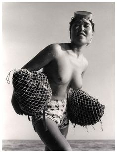 Ama (diving) woman in Japan, 1950's Iwase Yoshiyuki
