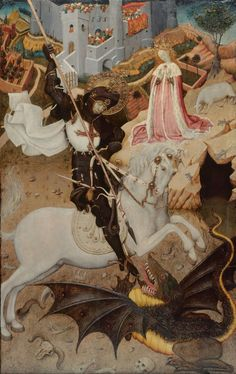 """#SantJordi2016 y Feliz #DiaDelLibro Imagen: """"San Jorge matando al dragón"""", de Bernat Martorell (1390-1452)"""