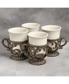 9 oz. Cups w/ Holder-Set of 4-Cream