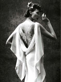 editorialarchive: Nadja Auermann photographed by Mario Testino for Vogue Italia, March 2005 Mario Testino, Nadja Auermann, Butterfly Fashion, Butterfly Dress, Butterfly Wings, Simple Butterfly, Madame Butterfly, Vintage Butterfly, Butterfly Design