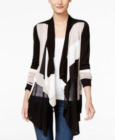 INC International Concepts Colorblocked Waterfall Cardigan (43.99) 20%off thru 8/28/16 rayon black/beige/white szS 54.99 Sale thru 8/28/16
