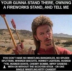 Joe Dirt fireworks 4th of July.... Gotta have tha good stuff !