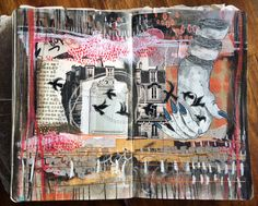 'flown' art journal spread by artist Roxanne Coble (aka BY BUN) Artist Journal, Artist Sketchbook, Art Journal Pages, Art Journals, Poetry Journal, Visual Journals, Bullet Journal Art, Junk Journal, Art Journal Inspiration