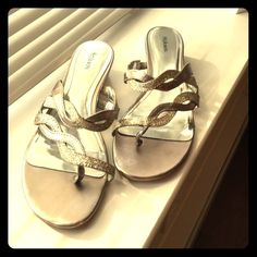 Gold sandals size 6 Worn only one time for a few hours. Like new condition. Style & Co Shoes Sandals