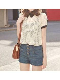 Turndown Collar Short Sleeve Polka Dot Apricot Chiffon T-shirt
