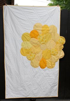 Yellow Applique Flower Quilt.