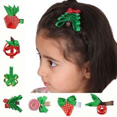12Pcs Cute Hair Bow Alligator Clips For Girls Kids Diy 2-2.5' Fruit Ribbon Hair Clips Small Hair Pins Christmas Hair Accessories >>> You can get additional details at the image link. #hairrepair