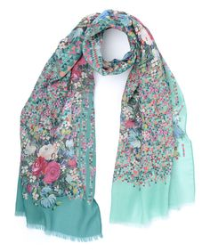 Look at this Oilily Mint Diamond Floral Scarf on #zulily today!