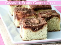 Coconut Flour Coffee Cake (Grain Free + Dairy Free) Low oxalate, assuming 8 pieces, so don't over-indulge :). Could be lowered by swapping some or all of the cinnamon for cinnamon extract. Recipes Using Coconut Flour, Coconut Recipes, Real Food Recipes, Cake Recipes, Dessert Recipes, Yummy Recipes, Diet Recipes, Recipies, Paleo Dessert