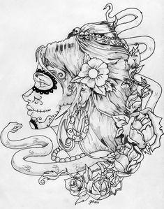 Plain Day of the Dead Skull Printable Coloring Pages Skull Coloring Pages, Coloring Book Pages, Printable Coloring Pages, Coloring Sheets, Sugar Skull Girl, Sugar Skulls, Day Of The Dead Skull, Tattoo Flash Art, Skull Art