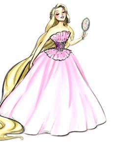 THESE DRESSES THOUGH. It's Rapunzel! Either from her original classic fairytale Rapunzel or from the new rendition Tangled, this princess's story is certainly a fun one. Bet Eugene likes the dress.