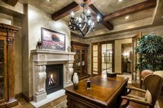 Tuscan Vineyard Estate - mediterranean - Home Office - San Francisco - Stotler Design Group Industrial Home Offices, Rustic Home Offices, Home Office Design, Home Interior Design, House Design, Interior Doors, Office With Fireplace, Wooden Beams Ceiling, San Francisco