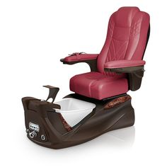Infinity pedi-spa shown in Burgundy Ultraleather cushion, Mocha base, Aurora LED Color-Changing bowl (shown in off-mode)