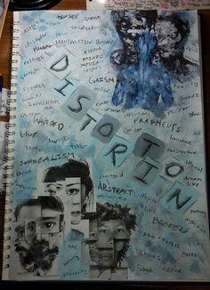 Starting my final GCSE art sketchbook, it's nearly over! Exam theme: distortion  [top corner art: KwangHo Shin, bottom corner art: Brno del Zou]