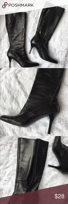 """Franco Sarto Women's black leather mid Calf boots Worn inside a few marks on the side but not noticeable when boots are on. pictures show . Beautiful boots. 3 1/2"""" heel  size 7.5 Franco Sarto Shoes Heeled Boots"""