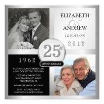 Personalized 25th Silver Wedding Anniversary Invitations